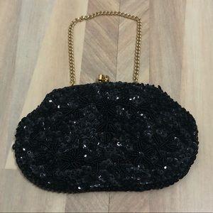 Vintage Handmade Black Beaded Formal Handbag